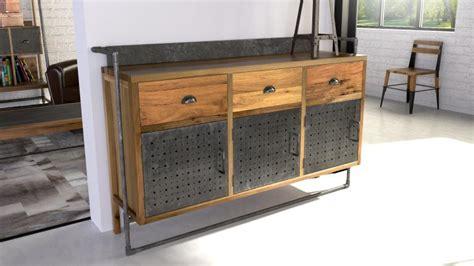 grand placard cuisine sutton buffet de style industriel en bois et métal