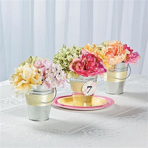 tin pail flower table numbers idea add some easy