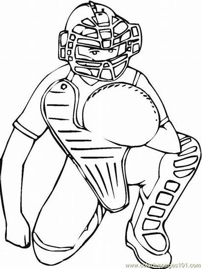 Coloring Baseball Pages Catcher Umpire Softball Printable