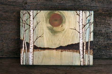 lake art block wood burning  twigsandblossoms
