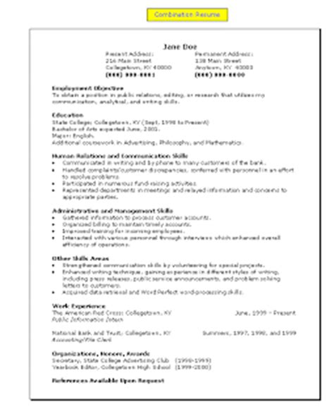 Combined Functional Chronological Resume Sles by Employ Me Fast College Grad Functional Combination Resumes