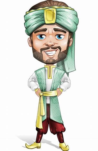 Cartoon Character Arabian Beard Vector Arab Arabic