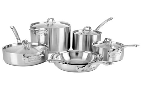 viking professional  ply stainless steel cookware set  piece cutlery