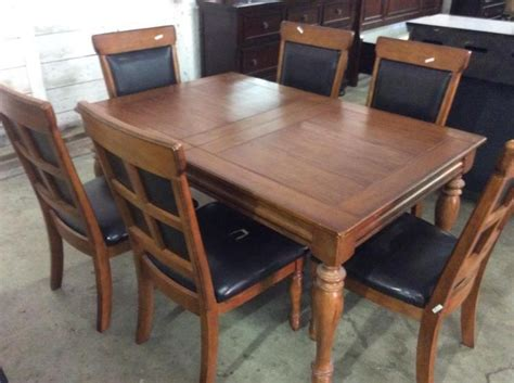 mission style kitchen table and 6 chairs