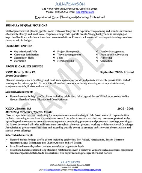 Event Management Description Resume by Creative Event Planner Resume Sle Recentresumes