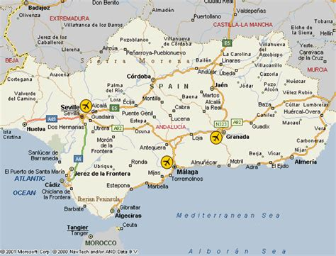 Map Of Spain With Airports.Map Southern Spain Airports