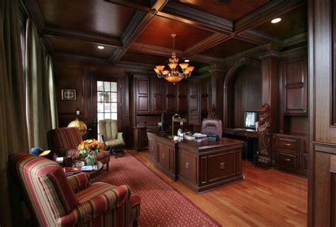 formal office  dark wood paneling  ceiling homes   wood paneling mansion