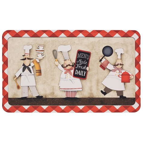 Kitchen Rugs At Home Depot by 18 X 30 In Kitchen Mat 3 Panel Chefs Multi Polyester