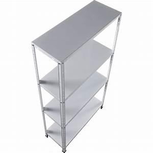 Leroy Merlin Etagere Metal : etag re acier racky 4 tablettes blanc x x cm leroy merlin ~ Carolinahurricanesstore.com Idées de Décoration
