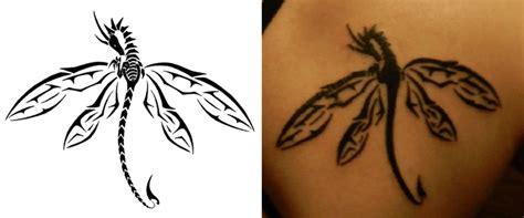 unique black tribal dragonfly tattoo design