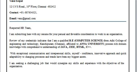 How To Mail A Resume For Freshers by Cover Letter Format For Freshers