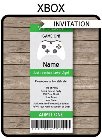 xbox party ticket invitation template video game theme