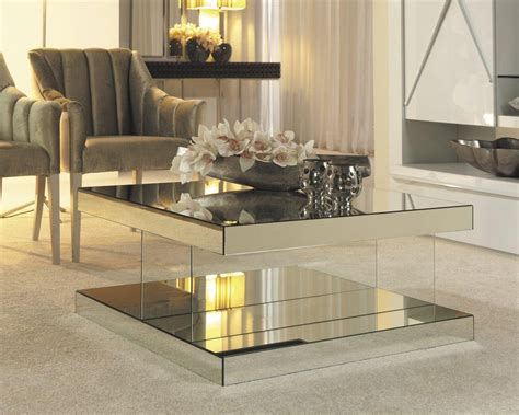 Square Mirrored Coffee Table With Classic Sofa