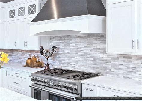 Modern Kitchen Tile Backsplash Ideas by White Cabinet Marble Countertop Modern Subway Kitchen