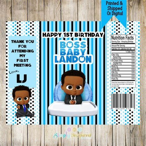boss baby inspired favor bag boss baby party favors boss baby chip bags custom chip bags boss