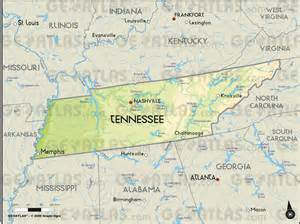 Tennessee State Physical Map