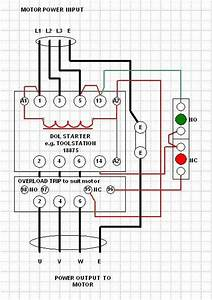 Drawing Control On  Off Delta Motor 3 Phase With Contactor