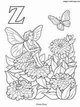 Coloring Fairy Alphabet Magic Zinnia Letter Printable sketch template