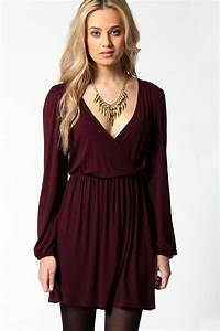 adriana jersey long sleeve wrap dress at boohoocom With robe longue cache coeur