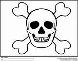 Skull Pirate Coloring Crossbones Bones Sword Template Quilt Printable Flag Printables Pirates Flags Adult sketch template