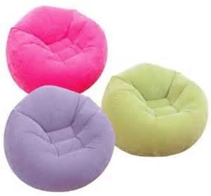 intex portable beanless bean bag chair air flocked cushion sofa seat ebay