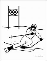 Skiing Coloring Olympics Clip Alpine Downhill Olympic Skier Winter Sports Racing Abcteach Clipart Sport Event sketch template
