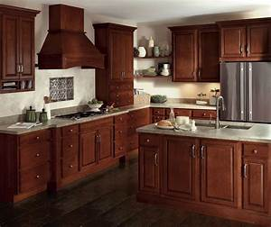 Glazed cherry cabinets in a traditional kitchen homecrest for What kind of paint to use on kitchen cabinets for media room wall art