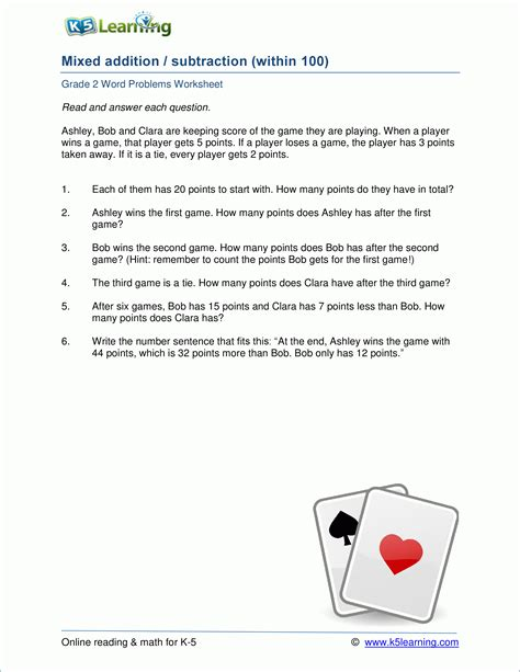 grade 2 addition and subtraction word problem worksheets