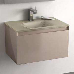 meuble salle de bain taupe 60 cm 1 tiroir plan verre glass With meuble de salle de bain 60
