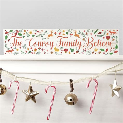 personalised christmas woodland mantle decoration love