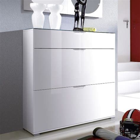 White High Gloss Cupboard by California High Gloss Shoe Cabinet In White With Grey