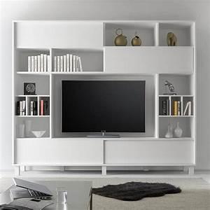 Meuble Tv Mural : meuble tele mural design blanc laque mat sofamobili ~ Teatrodelosmanantiales.com Idées de Décoration