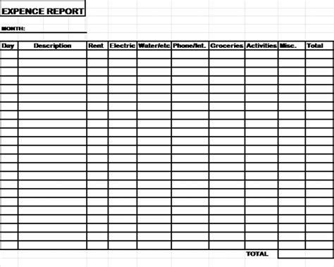 Expense Record Template by Expense Reports Free Report Templates