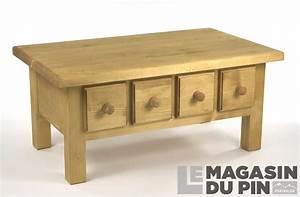 Table Basse Pin : table basse en pin massif chamonix 4 tiroirs le magasin du pin ~ Teatrodelosmanantiales.com Idées de Décoration