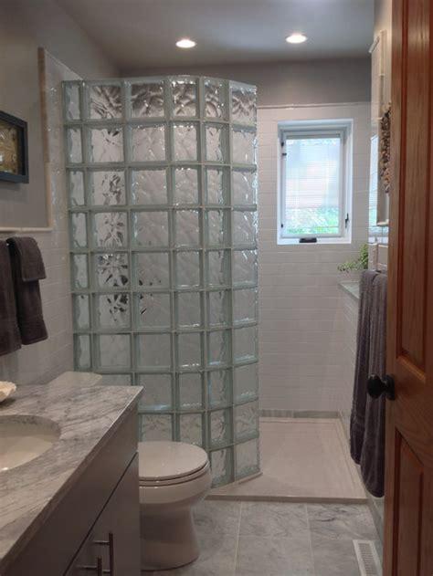 guest bathroom remodel  walk  glass block shower