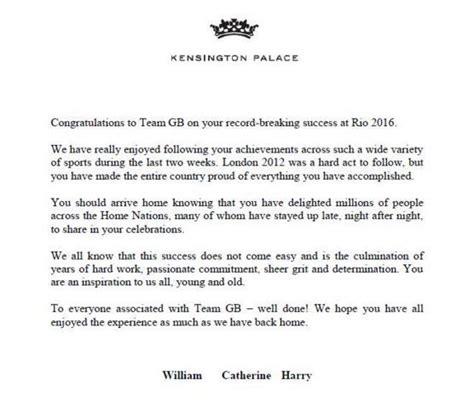 rio  olympics team gb receive letter  william