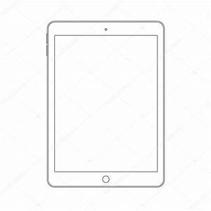 Outline Drawing Tablet  Elegant Thin Line Style Design