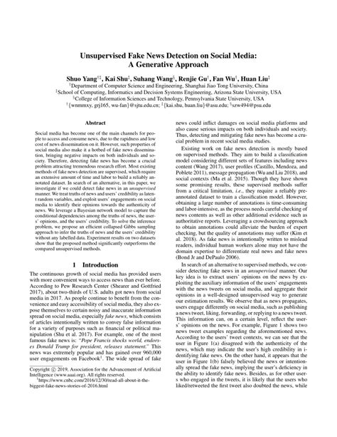 (PDF) Unsupervised Fake News Detection on Social Media: A
