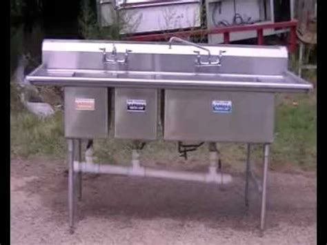 3 Compartment Sink, Stainless Steel Sink, Restaurant