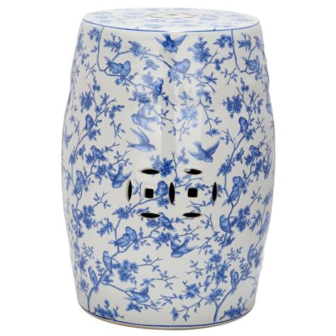 Garden Stool by Safavieh Blue Bird Pattern Ceramic Patio Stool Acs4514a