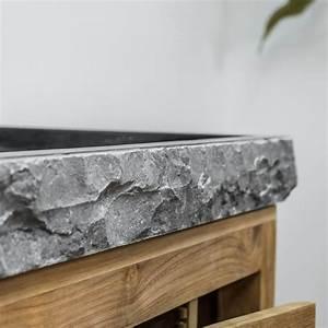 Meuble Sous Vasque Bois Massif : agr able eclairage mur en pierre interieur 19 meuble sous vasque simple vasque en bois teck ~ Farleysfitness.com Idées de Décoration