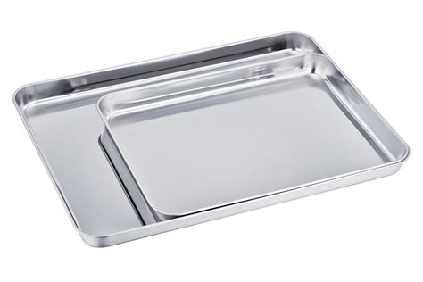 baking stainless sheet steel tray professional cookie pan clean finish mirror dishwasher teamfar safe non toxic rust healthy easy pure
