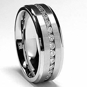 7MM Men39s Eternity Titanium Ring Wedding Band