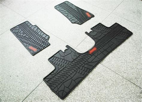 rubber slush floor mats 3 pieces set for jeep wrangler