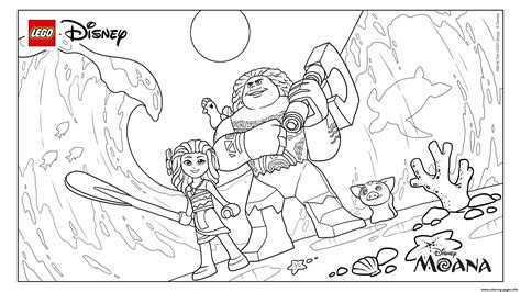 lego moana disney  coloring pages printable