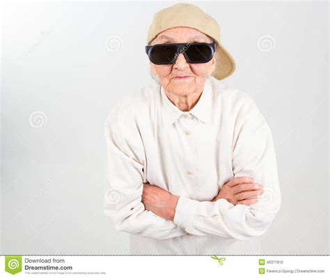 cool grandma stock photo image