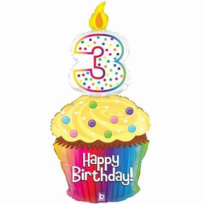3rd Birthday Happy Cupcake Balloon Supershape Foil