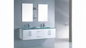 Meuble salle de bain suspendu wenge double vasque en verre for Salle de bain design avec ensemble meuble lavabo