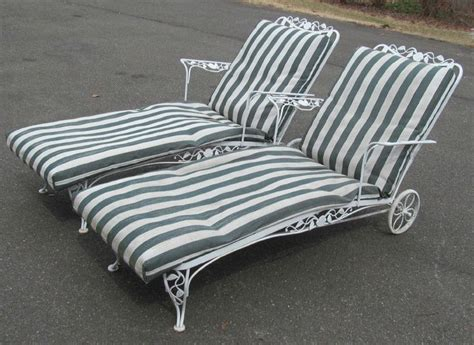 pair 1940 woodard wrought iron chantilly chaise