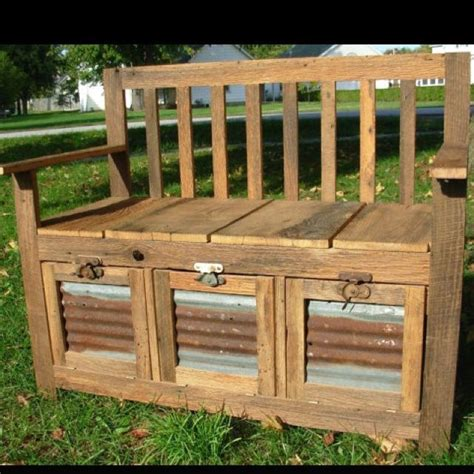 barn tin wood barn wood bench  corrugated tin insert pallet projects wood storage